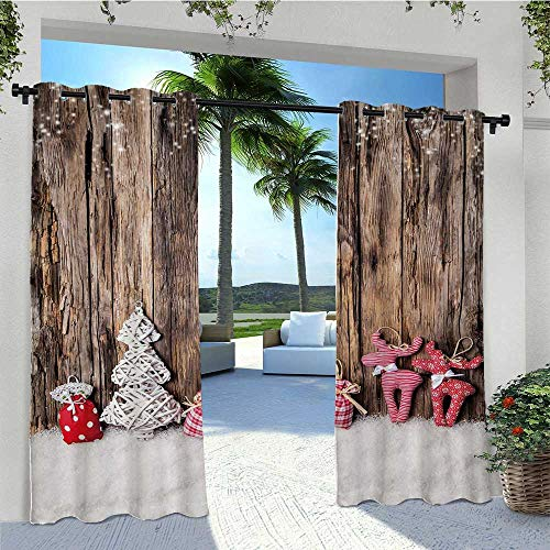 Adorise Custom Outdoor Curtain Traditional Cute Cloth Christmas Inspired Figures on Rustic Wooden Planks Vintage Waterproof Blackout Drapery Block The Sun and Be Water Proof W96 x L84 Inch