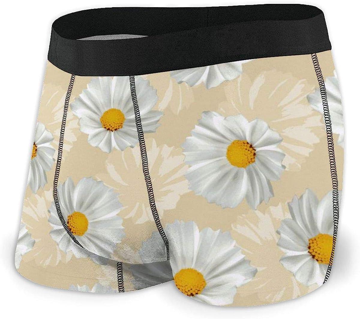Randolph Wordsworth Mens Boxer Briefs Seamless White Flowers Beige Breathable Underwear