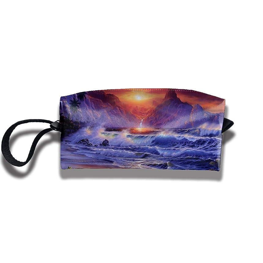 海の夕日の風景 ペンケース文房具バッグ大容量ペンケース化粧品袋収納袋男の子と女の子多機能浴室シャワーバッグ旅行ポータブルストレージバッグ