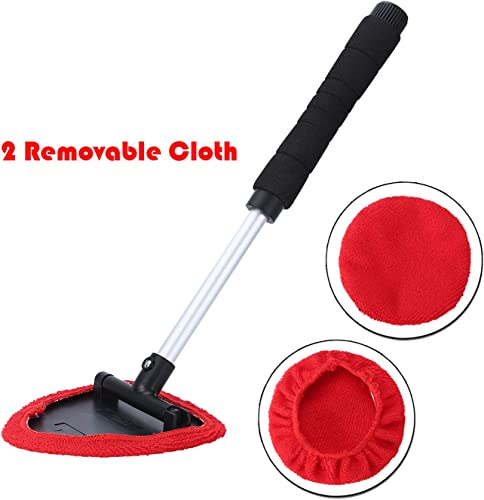 wholesale MGGi Windshield Cleaner Tool, Extendable Handle and Adjustable Triangular Shape Window Windshield Cleaner Kit, Car Windshields outlet online sale Washing Brush, with popular 2Pcs Washable and Reusable Pads online sale