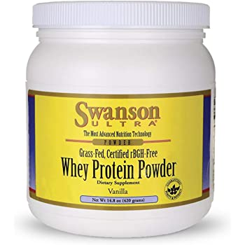 Swanson Grass Fed Cold Pressed Certified rBGH Free Hormone Free Vanilla Whey Protein Powder with Aminogen Enzyme Sports Nutrition Muscle Workout Support 14.8 Ounces (420 g)