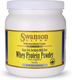 Swanson Grass Fed Cold Pressed Certified rBGH Free Hormone Free Vanilla Whey Protein Powder with Aminogen Enzyme Sports Nu...