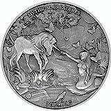 Power Coin Mermaid and Unicorn Mythical Creatures 2 Oz Moneda Plata 10000 Francos Chad 2021