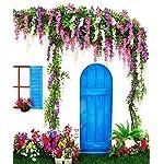 artificial silk wisteria vine rattan garland fake hanging flower wedding party home garden outdoor ceremony floral decor,3.18 feet, 6 pieces (rose red-2)
