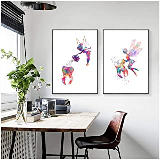 Tooth Fairy Watercolor Art Canvas Painting Pictures Dental Hygienist Gift Poster Art Prints Clinic Wall Decor 60x80cmx2 (no Frame)
