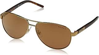 Ralph by Ralph Lauren Women's RA4004 Aviator Metal Sunglasses, Gold/Gold Mirror Polarized, 59 mm