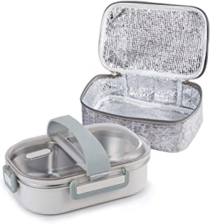 Lille Home 22oz Stainless Steel Leakproof 2-Compartment Lunch Box, Insulated Bento Box, Portion Control Food Container with Insulated Lunch Bag, Adults, Men, Women (grey)