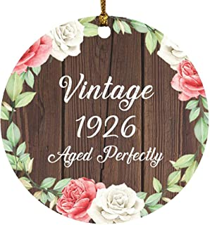 95th Birthday Vintage 1926 Aged Perfectly - Circle Wood Ornament A Christmas Tree Hanging Decor - for Friend Kid Daughter ...