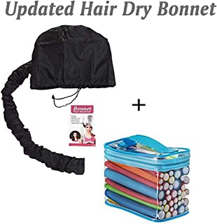 (2 In 1) 42 Packs Flex Flexy Flexi Twist Foam Hair Curler Rollers Curling Rods + Hair Dryer Bonnet Attachment