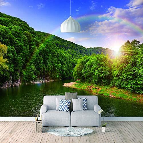 Papel Pintado 3D Foto Murales Bosque del sol,Papel Tapiz Fotográfico Premium No-Tejido Mural Apto para Sala de Estar Dormitorio Decoración de la Papel Tapiz 400x280 cm - 8 tiras
