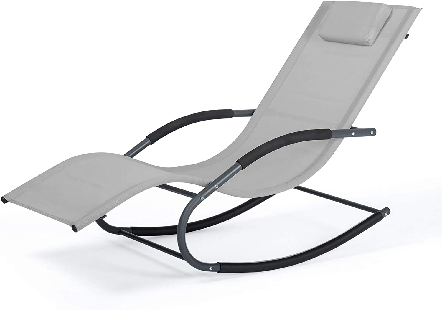 Mansion Home Chaise Lounge, Oversized Zero Gravity Chair for Patio & Lawn, Lounge Reclining Chairs for Outside Pool & Beach, Outdoor Chaise Recliner, Light Gray