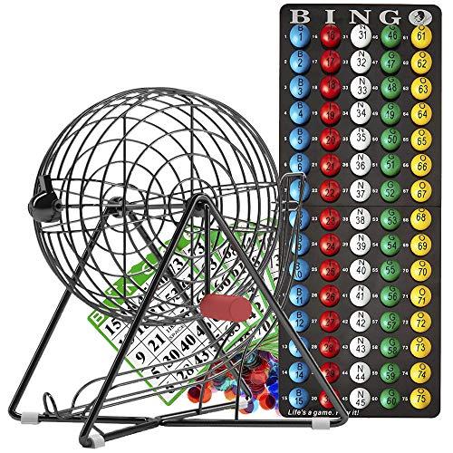 MR CHIPS Professional Bingo Set with Bingo Cage, Bingo Balls, Bingo Board, Bingo Cards, and Bingo Chips - Mysterious Black