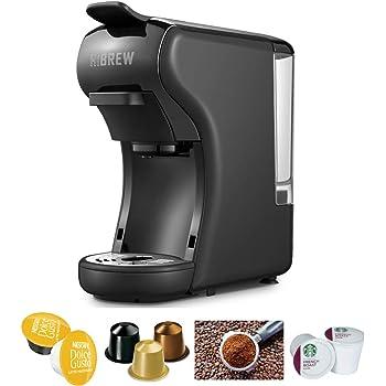 HiBREW 4-in-1 Mini Multi-Function Espresso Coffee Maker Dolce Gusto Machine Compatible with Nespresso Capsule, Dolce Gusto Capsule, Ground Coffee, Kcup, Italian 19 Bar High Pressure Pump, Buttons for Espresso and Lungo, 1450W (Black)