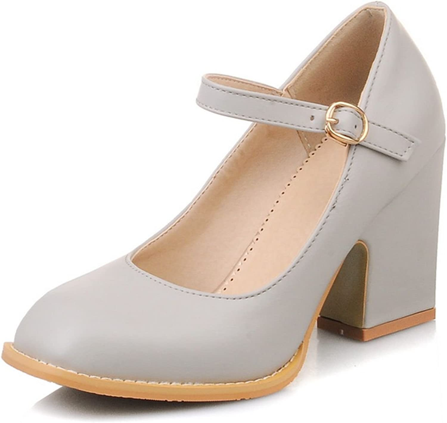 DecoStain Women's Causal Faux Leather Ankle Strap Mary Janes Block High Heel Pumps shoes Grey