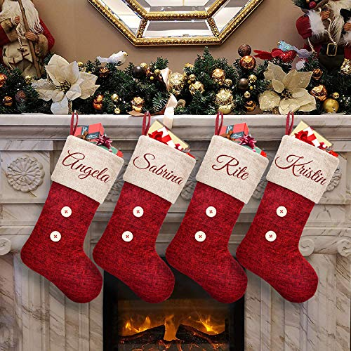 ElegantPark Personalized Christmas Stockings 4 Pack Red Burlap Christmas Stockings Monogrammed Custom Large Xmas Rustic Holiday Fireplace Home Decoration Gifts for Family