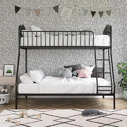 Novogratz Bushwick Metal Bunk Bed, Kid's Bedroom Furniture, Twin/Full, Black