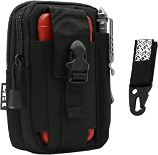 LefRight 1000D Black Tactical Backpack MOLLE Military EDC Man Universal Outdoor Gear Holster Utility Pouch Carrying Capacity Belt Waist Bag for iPhone 7 Plus Moto Z Play with Protective Case