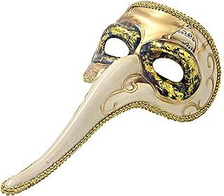 Hophen Venetian Long Nose Mask Ball Prom Mardi Gras Plague Doctor for Men Wall Decorative Art Collection Mask (White)