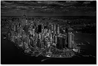 Manhattan Birds Eye View by Michael Jurek, 12x19-Inch Canvas Wall Art