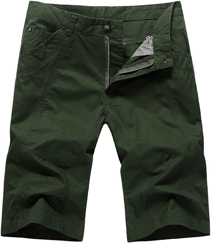 WSLCN Men's Bermuda Work Shorts Zip Fly Summer Cotton Cargo Knee Length Half Pants