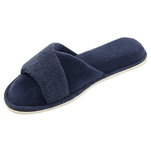 e8ea4fb52 HomeIdeas Women's Open Toe Terrycloth Slide House Slippers with Comfy  Velvet Lining, Spring Summer Memory