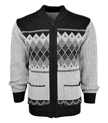 Mens Argyle Diamond Knitted Long Sleeve Zip Up Cardigan Adults Casual Sweater Black 2X-Large