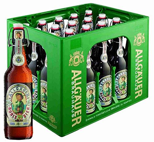20 Flaschen Allgäuer Büble Bier Edelweißbier hell 5,3% vol. a 500ml inclusiv 3.00€ MEHRWEG Pfand Bügelflaschen