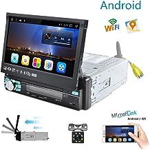 Android Radio Coche 1 DIN GPS Navegación Camecho 7 Pulgadas Retráctil Pantalla táctil FM Am RDS Radio Bluetooth Reproductor MP5 Duplicar Pantalla Dual USB Ranura SD + Cámara de Respaldo