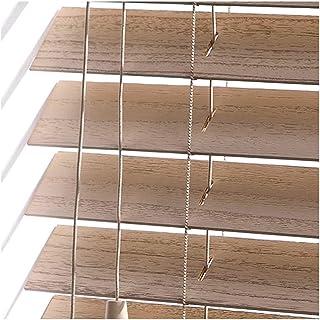 YJFENG-Persianas venecianas Estores Cortinas De Madera Impermeable, Protección De La Privacidad Pista De Aleación De Aluminio Sistema De Varilla Giratoria Personalización De Soporte
