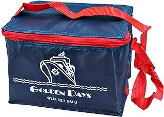 Bolsa térmica Porta alimentos, comida, almuerzo, bebidas. Color azul marino y rojo. Con asa para fácil transporte. MEDIDAS: 20 x 13 x 13 cm. Nevera isotérmica.