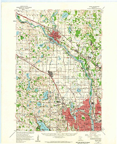 YellowMaps Anoka MN topo map, 1:62500 Scale, 15 X 15 Minute, Historical, 1955, Updated 1959, 27.23 x 21.53 in - Paper (Best Places To Work Remotely In Minneapolis)