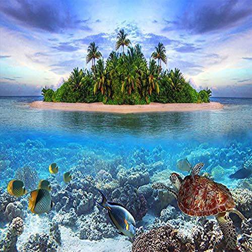 XHXI Moderne kreative blaue Ozean Meer Tierinsel Landschaft Kunstdruck Foto Tapete große Poster Wanddekoration für Wanddekoration fototapete 3d Tapete effekt Vlies wandbild Schlafzimmer-400cm×280cm