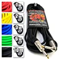 """Premium Guitar/Instrument Cable (Black, 30ft / 10m, Straight to Right Angle Plugs) - Heavy Duty Pro 1/4"""" Jack to Jack Noiseless Mono Lead - Coloured Link Lead to Amplifier/Amp + Free Cable Tie"""