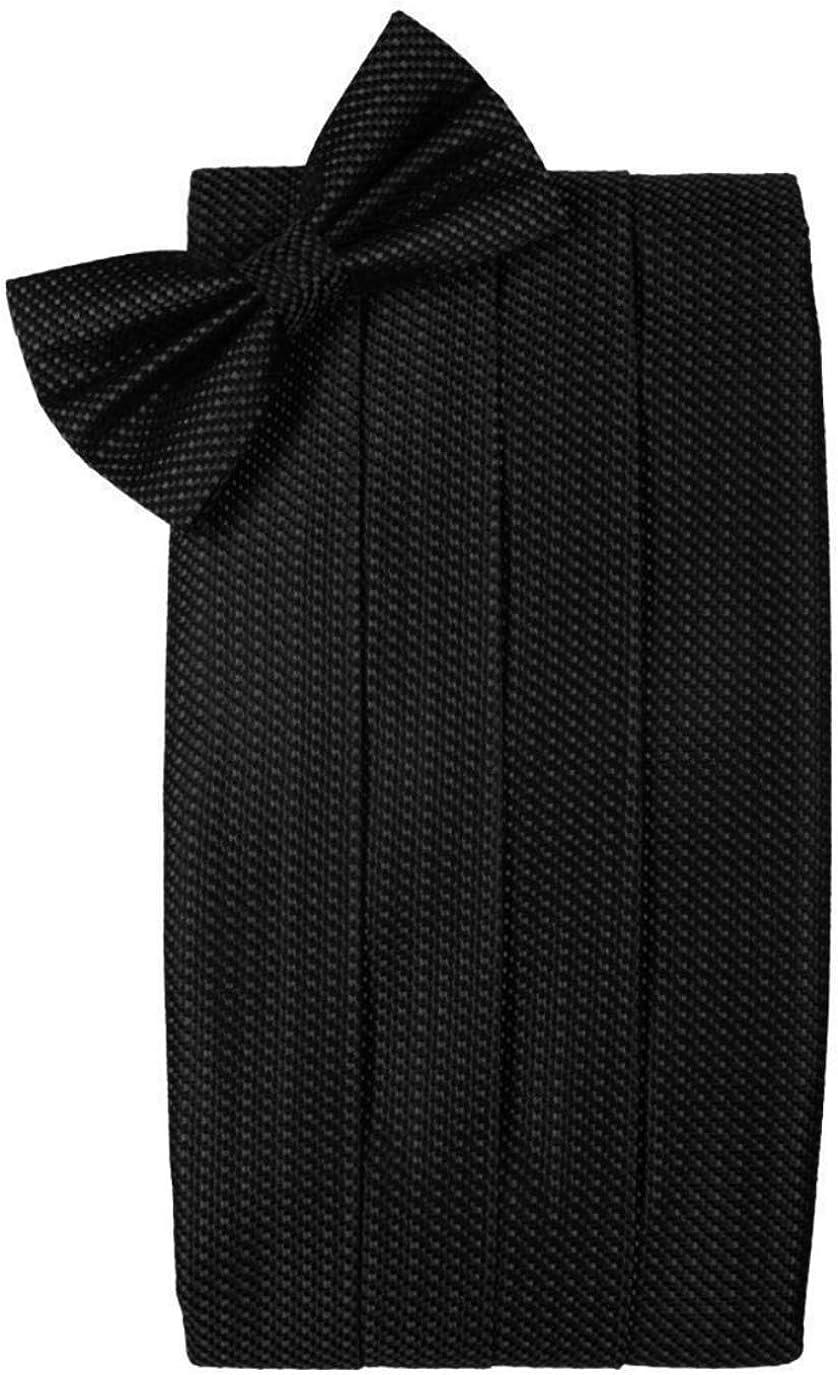 Silk Weave Black Tuxedo Cummerbund and Bow Tie