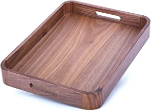 Alddn Wood Serving Tray with Handles, Natural Handcrafted Black Walnut Food Tray Serve Coffee, Tea, Cocktails, Appetizers,...