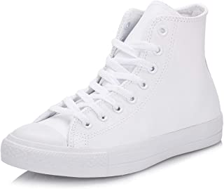 Converse Men's Chuck Taylor All Star Leather Hi Tops Trainers Sneaker, White Monochrome, 4