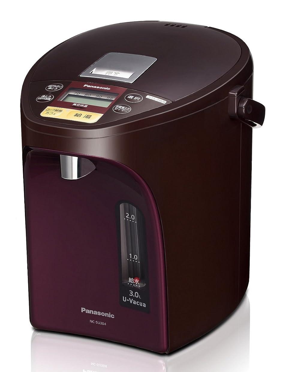追跡柔らかさ破壊的なパナソニック 電気ポット 3.0L 真空断熱 省エネ保温 お好み温度調節 給湯量(4段階+コーヒー用) コードレス給湯 ブラウン NC-SU304-T