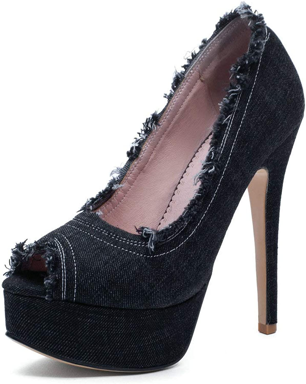 AnMengXinLing High Heel Pumps Women Sexy Peep Toe Platform Denim Stiletto Slip On Dress Prom Evening Wedding shoes Black bluee