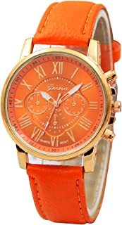 Watches for Women Guesthome,Geneva Roman Numerals Faux Leather Analog Quartz Watch