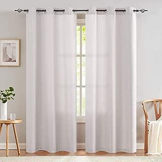 jinchan Burlap Linen Textured Curtains for Living Room Grommet Top Light Filtering Window Curtain Panels for Bedroom 2 Panels Light Grey 95 inch Long