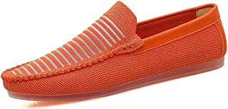 Shoes Comfortable Men Mesh Knit Upper Lightweight Breathable Business Dress Wedding Loafers Anti-Slip Flat Slip-on Round Toe Fashion Penny Loafers Fashion (Color : Orange, Size : 8 UK)