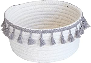 Znvmi Small Cotton Rope Storage Basket Natural Collapsible Nursery Hamper Home Decor Closet Storage Bins Office Desk Organizer  White Grey Tassel