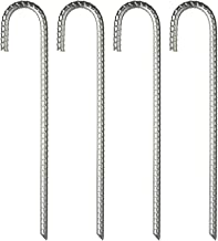 Feed Garden Galvanized Rebar Stakes 4 Pack Heavy Duty J Hook 12 inch,Ground Stakes Tent Stakes Steel Ground Anchors,Silver