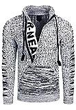 Rusty Neal Zipper Stehkragen Pullover Herren Strick Grobstrick Strickpullover Langarm 328, Farbe:Weiß, Größe:XL