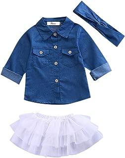 Toddler Baby Girl Denim Long Sleeve Shirt Princess Tutu Lace Dress Bowknot Headband Summer Clothes Outfit Set 1-5 Years (Blue,2-3 Years)