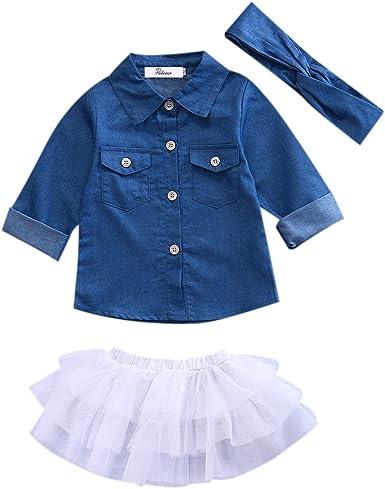 Bebé Niñas Pequeñas Traje Camisa Denim de Manga Larga + Falda ...