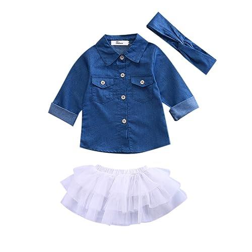 7aad766f517 Newborn Kids Baby Girls Jeans Denim Tops Shirt + Tutu Skirts Dress +  Headband 3pcs Outfits