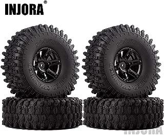 INJORA 1.9 Beadlock Wheels and Tires/1.9 Crawler Tires and Wheels Rim Set 120mm for 1/10 Scale RC Crawler Axial SCX10 II 90046 90047 TRX4,4Pcs/Set (Black)