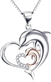 Sterling Silver Double Dolphin Heart CZ Heart Shape Pendant Necklace 18