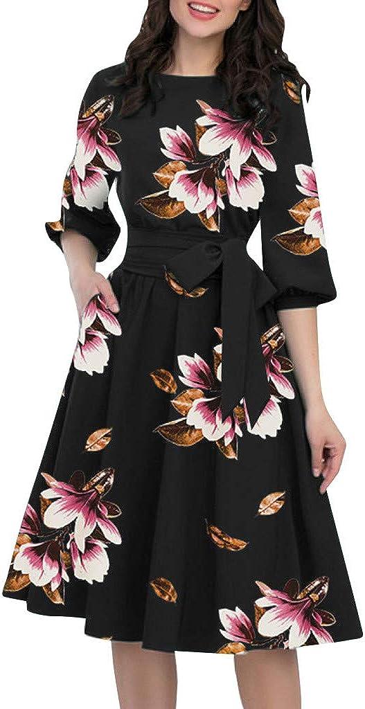 F_Gotal Elegant Floral Dresses for Women, Women's Floral Vintage Dress Elegant Evening Dress A-Line Mini Dress Cocktail